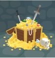 Treasure Chest With Golden Coins Skull and Swords vector image