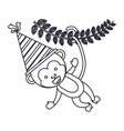 Monkey cartoon with party hat design vector image