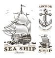 set of vintage ships vector image