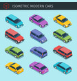isometric cars collection vector image vector image
