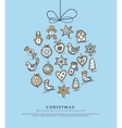 Blue greeting card with Christmas gingerbreads vector image