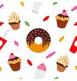 Sweet Food Fast Food Cake Donut Seamless Pattern vector image