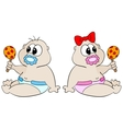 Babies with rattle vector image vector image