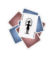 back side of playing cards and joker vector image