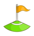 Corner flag on soccer field icon cartoon style vector image