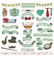 Fathers day decor setLinear Hand drawing Ribbons vector image