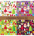 Happy New Year Four Seamless Patterns Set vector image