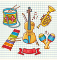 musical instruments childrens toys set violin drum vector image