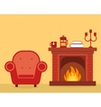 room interior with fireplace and armchair vector image