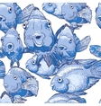 Seamless ornament with blue fish vector image