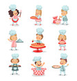 set of little cook chief kids cartoon characters vector image
