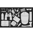 Set of survival camping equipment Chalk vector image
