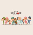 set red nose day greeting card medical doctor in vector image