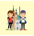 Traveling couple cartoon character vector image vector image