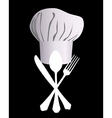 chefs hat with a knife spoon and fork vector image