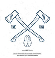 Crossed Axes with Padlock t-shirt print vector image
