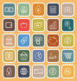 Money line flat icons on brown background vector image