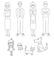 Three Generation Familys with Cat Dog vector image