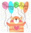 Cute happy birthday card with funny kitten vector image