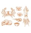 Seafood platter fresh ingredients sketch symbol vector image