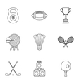 Training icons set outline style vector image