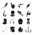 Fishing set icons in black style Big collection vector image