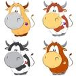Funny cows cartoon set vector image