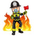 A brave fireman vector image