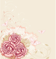 Decorative background with pink roses vector image vector image