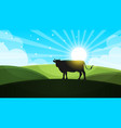cow in the meadow - cartoon landscape vector image