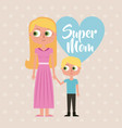 cute cartoon happy woman and little girl super mom vector image