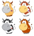 Funny cows cartoon set vector image