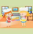 two girls baking pie in kitchen vector image