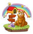 A bear beside a wooden mailbox and a wooden vector image vector image