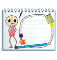 A notebook with an image of a young boy vector image vector image
