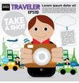 Traveler holding a camera EPS1 vector image vector image