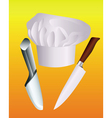 chefs hat with two knives vector image vector image