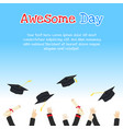 college graduation day card design with hands vector image