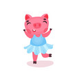 cute happy pig character in a blue dress funny vector image