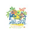 exotic island summer vacation maldive travel logo vector image