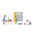 male janitor wiping indoors vector image