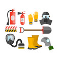 Safety equipment set Fire protection and fire A vector image