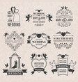 wedding labels set in victorian style monochrome vector image