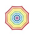 White Umbrella With Rainbow Stripes Top View vector image
