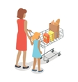 Woman and Girl with Cart Purchases in Flat Design vector image