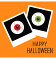 Instant photo with eyeball bloody streaks vector image