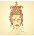 Sketch cute woman in crown vector image