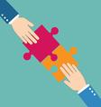 Teamwork concept Businessman put pieces of puzzle vector image