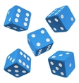 blue dice set icon vector image