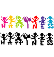 Doodle children with happiness text vector image